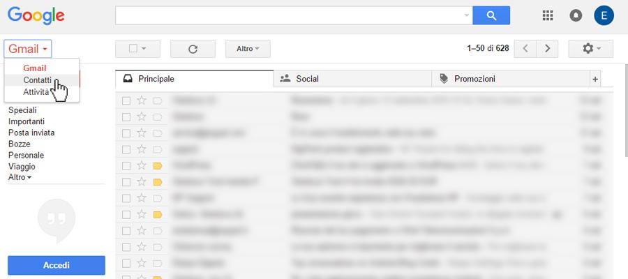 Come trasferire rubrica da Android ad Android con Gmail