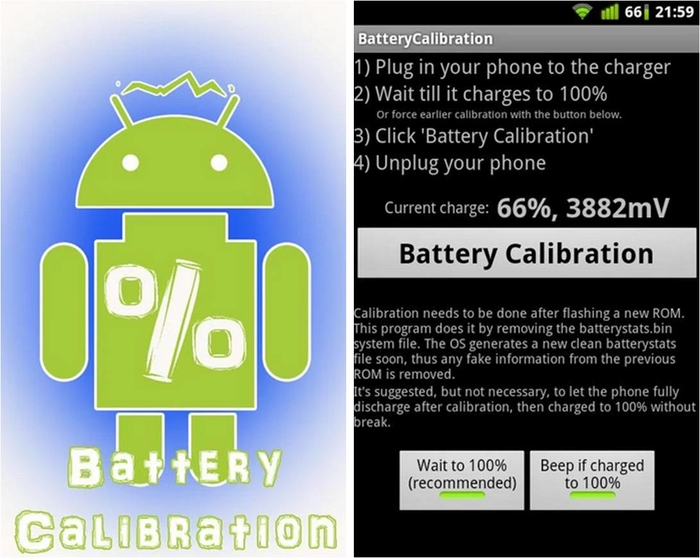 Come calibrare la batteria Android con i permessi di root Battey Calibration