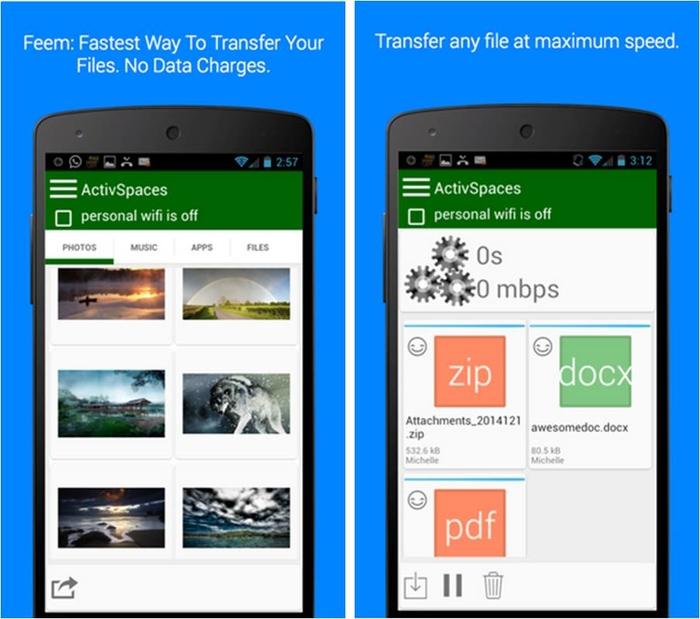 Feem Lite trasferimento file tra iPhone e Android
