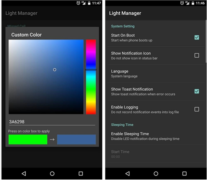 Light Manager impostazioni LED di notifica Android