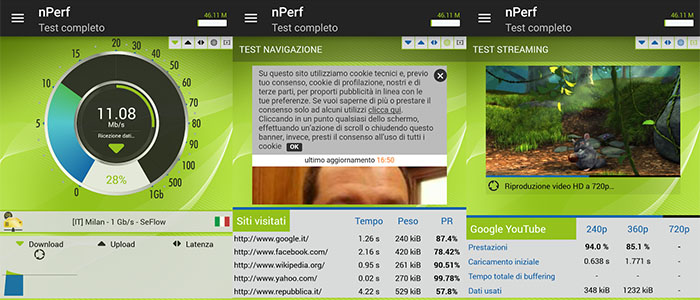 Speed test gratis velocità connessione Internet Speed Test Velocità e QoS 4G