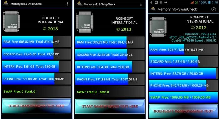 come aumentare la RAM Android con MicroSD MemoryInfo & Swaplife Check