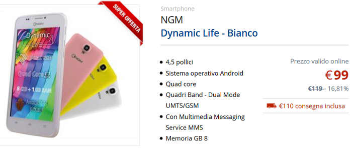 ngm dynamic life uno smartphone dual sim super economico. Black Bedroom Furniture Sets. Home Design Ideas