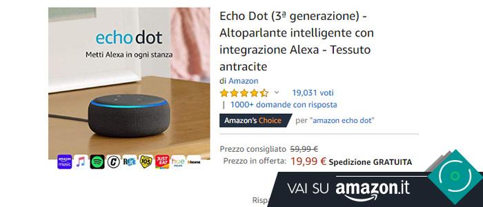 Amazon Echo Dot in offerta Black Friday