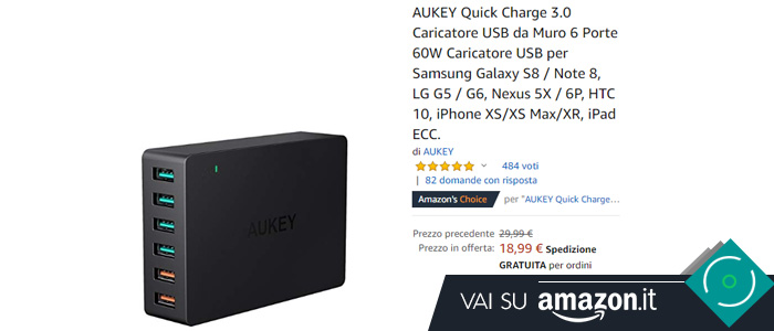 AUKEY Quick Charge 3.0 Caricatore USB da Muro 6 Porte in offerta Black Friday