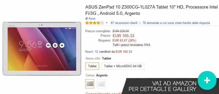 Prezzo Asus ZenPad 10 su Amazon.