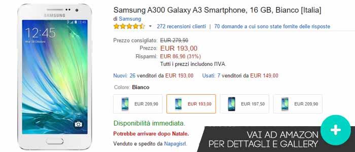 Prezzo Samsung Galaxy A3 su Amazon.