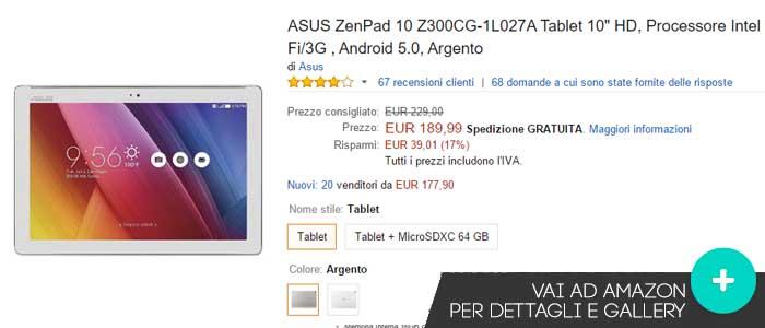Prezzo offerte Amazon Asus ZenPad 10