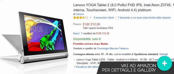 Prezzo offerte Amazon Lenovo Yoga Tablet 2