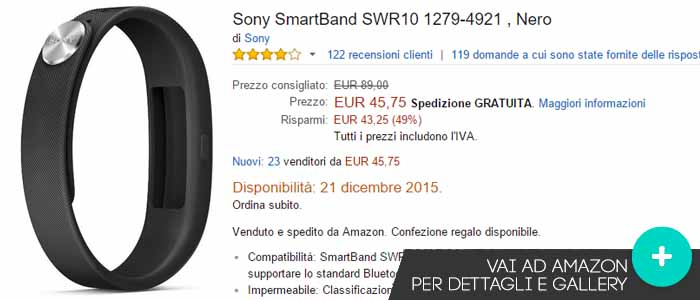 Prezzo offerte Amazon Sony SmartBand SWR10