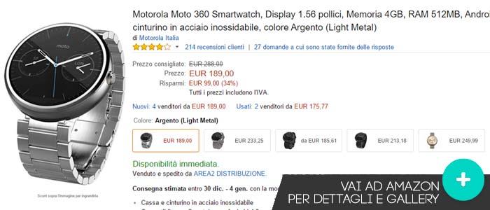 Prezzo Amazon ultime offerte Amazon per Motorola Moto 360