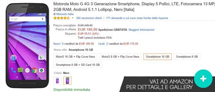 Prezzo Motorola Moto G 2015 su Amazon.