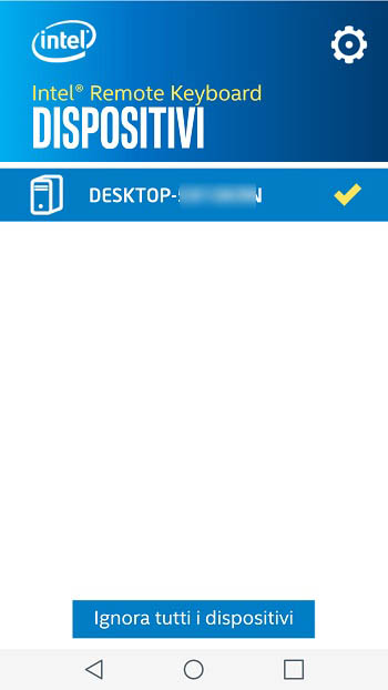 Schermata di configurazione dell'app Intel Remote Keyboard