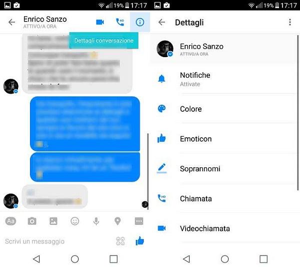Accesso da conversazione all'area Dettagli di chat su Facebook Messenger