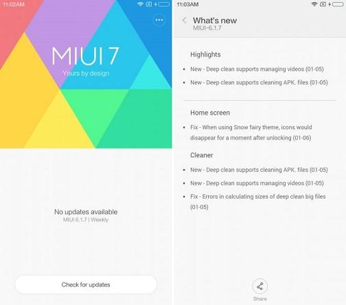 Changelog del firmware Xiaomi basato su Android 6.0 Marshmallow e MIUI 7