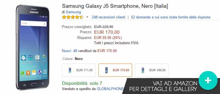Prezzo Samsung Galaxy J5 su Amazon.