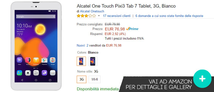 Prezzo Alcatel One Touch Pixi3 Tab 7 su Amazon.