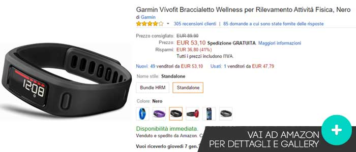 Prezzo Garmin Vivofit su Amazon