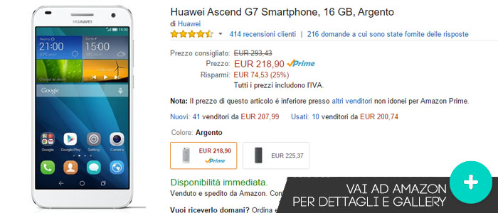 Prezzo Huawei Ascend G7 su Amazon.