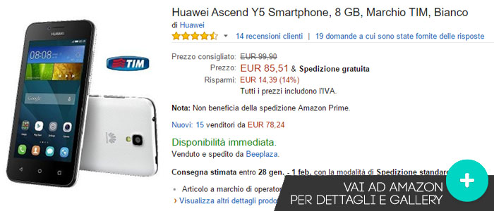Prezzo Huawei Ascend Y5 su Amazon.