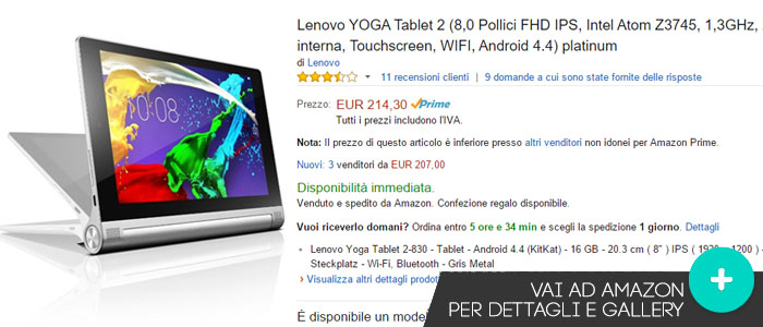 Prezzo Lenovo Yoga Tablet 2 su Amazon.