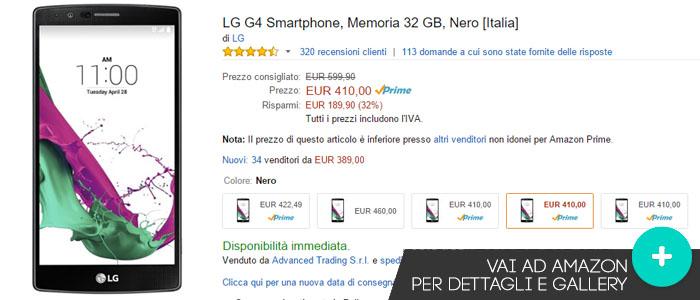 Prezzo Amazon ultime offerte per LG G4