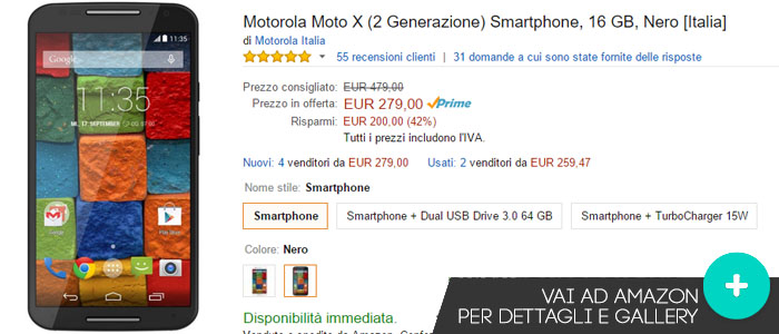 Prezzo Amazon ultime offerte per Motorola Moto X 2014