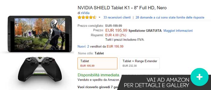 Prezzo NVIDIA Schield Tablet K1 su Amazon