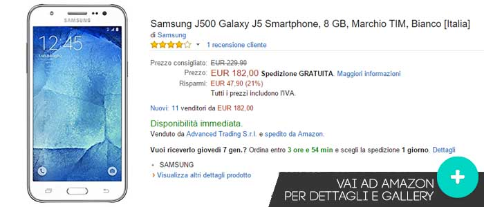 Prezzo Samsung Galaxy J5 su Amazon