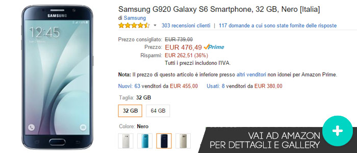 Prezzo Samsung Galaxy S6 su Amazon.