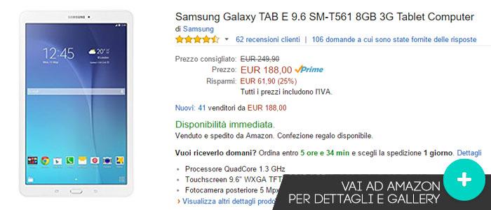 Prezzo Samsung Galaxy Tab E 9.6 su Amazon.