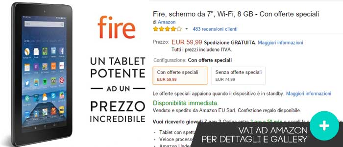 Prezzo Tablet Fire su Amazon