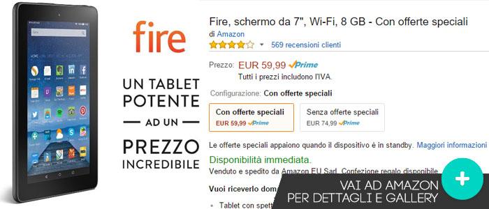 Prezzo Fire tablet su Amazon.