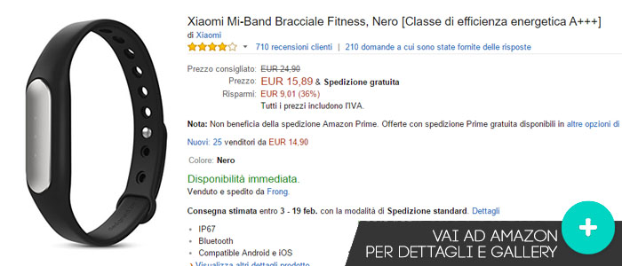 Prezzo Xiaomi Mi Band su Amazon.