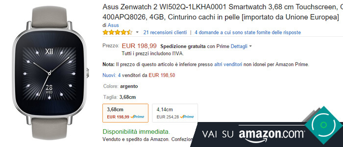 Prezzo Asus Zenwatch 2 su Amazon.