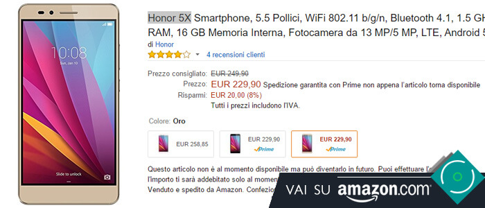 Prezzo Honor 5X su Amazon.