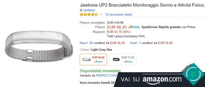 Prezzo Jawbone UP2 su Amazon.
