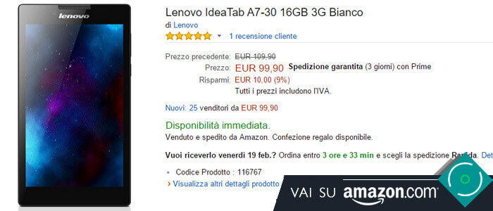 Prezzo Lenovo IdeaTab A70-30 su Amazon.