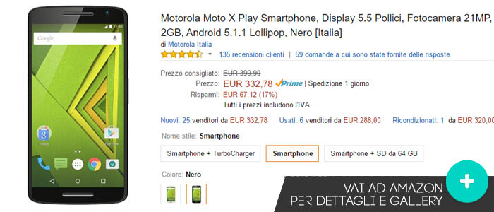 Prezzo Motorola Moto X Play su Amazon