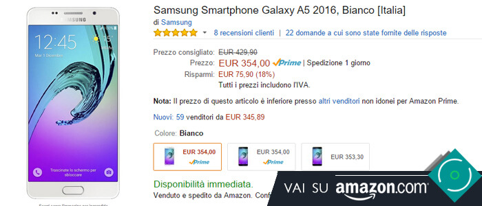 Prezzo Samsung Galaxy A5 2016 su Amazon.