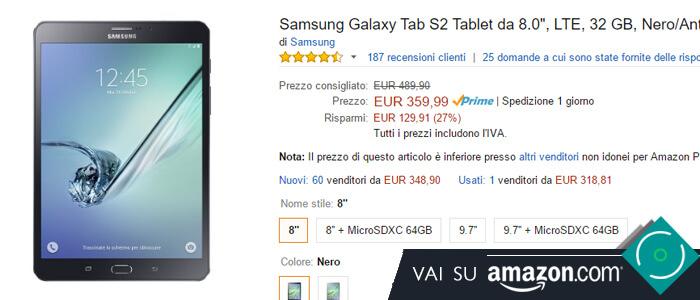Prezzo Amazon ultime offerte per Samsung Galaxy Tab S2 8.0.