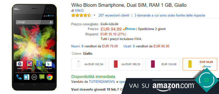 Prezzo Wiko Bloom Dual su Amazon.