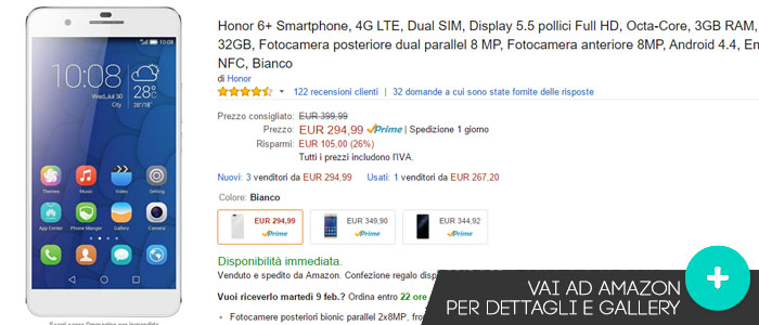Prezzo Amazon ultime offerte per Honor 6+