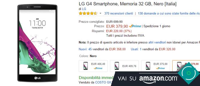 Prezzo LG G4 su Amazon.