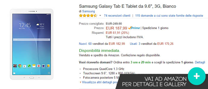 Prezzo Samsung Galaxy Tab E su Amazon.