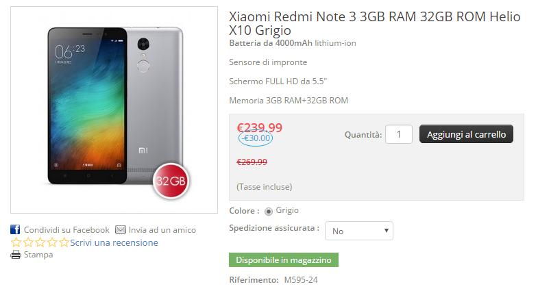 Xiaomi Redmi Note 3 su honorbuy