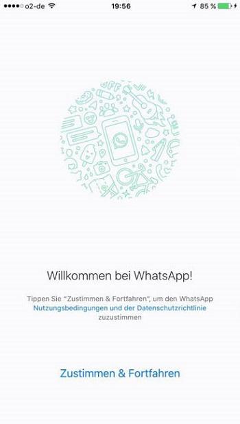 Nuova schermata di benvenuto di WhatsApp.