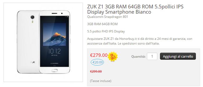 Prezzo Lenovo ZUK Z1 in offerta su honorbuy.it