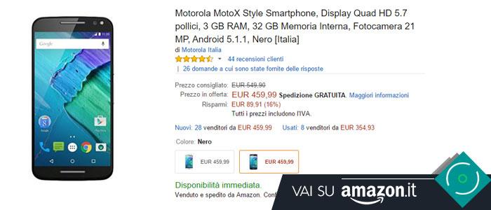 Prezzo Amazon ultime offerte per Motorola Moto X Style.