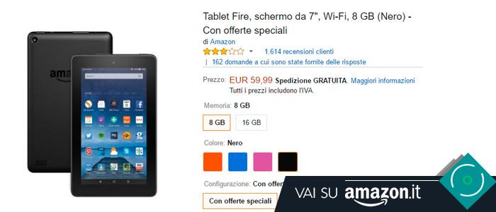 Prezzo Tablet Fire su Amazon.